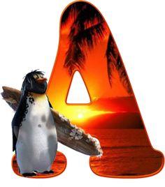 Alfabeto de pingüino surfero.
