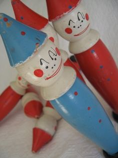 Vintage set of clown bowling pins.