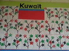 Tree made using the Kuwait flag colours. I used the bottom of an empty plastic or coke bottle to print with. Flag Colors, Colours, Kuwait National Day, Life Skills Activities, Crafts For Kids, Arts And Crafts, Teaching Letters, The Beautiful Country, Display Ideas