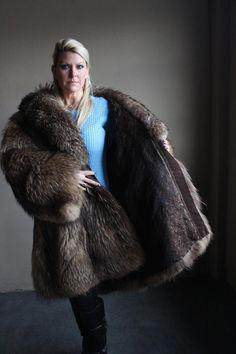 Vintage Brown Fur Coat Coyote Fur 3EXTRA Large 3XL Full Length Soft Real Fur 7 | eBay