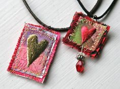 Miniature art quilts by Lisa Engelbrecht jewelry-i-admire