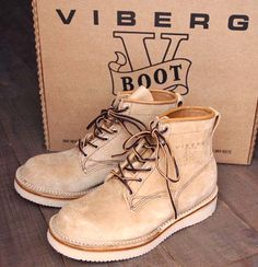 "Viberg Boot ""BOBCAT Beige RoughOut"""