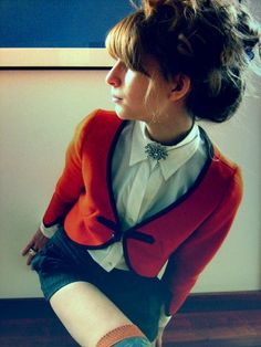Vintage Orange Cropped Jacket