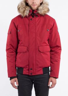 Shop for Men's Polyester and Faux Fur Bomber Jacket. Get free delivery On EVERYTHING* Overstock - Your Online Men's Clothing Shop! Hooded Bomber Jacket, Hudson Bay, Winter Coat, Cold Weather, Canada Goose Jackets, Faux Fur, Hoods, Burgundy, Winter Jackets