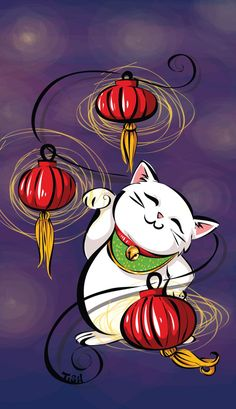 Maneki-Neko are lucky cats. They are presented with one paw raised, beckoning people towards them. They often come decked out in red collars with bells . Maneki Neko and Lanterns Maneki Neko, Neko Cat, Japanese Bobtail, Japanese Cat, Crazy Cat Lady, Crazy Cats, Lucky Cat Tattoo, Cat Drawing, Anime
