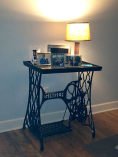 Hubby made table from the lower frame of an old sewing machine
