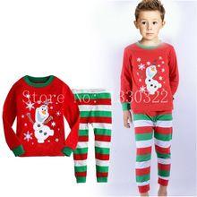 2016 Children Christmas Autumn Clothing Set I Love Santa Baby Boys Girls Cotton Pajamas Suits pijama infantil Kids Clothes(China (Mainland))