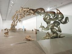 Falling Back To Earth by Cai Guo-Qiang. Installation view of Head On at the Gallery of Modern Art, Brisbane. Photo by Natasha Harth, courtesy Queensland Art Gallery Gallery Of Modern Art, Art Gallery, Galerie D'art Moderne, Cai Guo Qiang, Art Chinois, Colossal Art, Fall Back, Cg Art, Art 3d