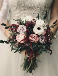 Moody bridal bouquet of fresh roses, peonies, and anemones. Burgundy and blush wedding bouquet. Moody bridal bouquet of fresh roses, peonies, and anemones. Burgundy and blush wedding bouquet. Boquette Wedding, Wedding Flower Guide, Winter Wedding Flowers, Winter Weddings, Wedding Ideas, Ivory Wedding, November Wedding Flowers, Wedding Trends, Fall Flowers