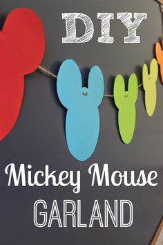 DIY Mickey Mouse Garland. This is a really easy garland for a Mickey Mouse themed party. Easy Mickey Mouse party garland. You could add a bow for a girl's party.
