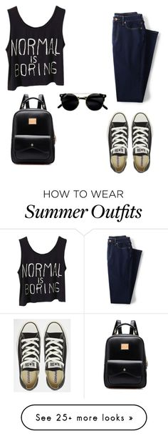 """""""Black Outfit"""" by sara-beatrice-lazar on Polyvore featuring Lands' End and…"""