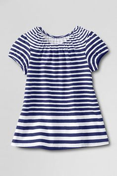 Girls' Short Sleeve Pattern Shirred Neck T-shirt from Lands' End