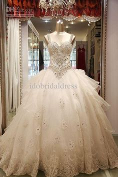 Gold Dresses Ball Gown Strapless Organza Heavy Crystal Lace Applique Beads Wedding Dress Bridal Gown Wedding Gown Weddings From Idobridaldress, $347.18| Dhgate.Com