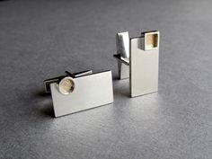 Handmade bimetal cufflinks #5 - Sterling silver and textured gold - designed and created by Wilde Works: www.wildeworks.co.uk