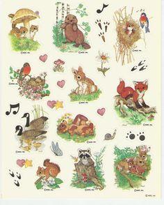 One Sheet Stickers Animals Forest Animal Bunny Bird Rabbit AGC Geese Mushrooms