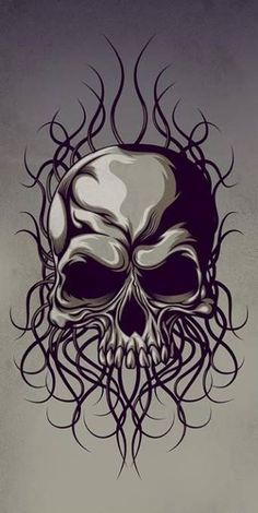 Skull by NuchiCorp on DeviantArt Skull Tattoo Design, Skull Design, Skull Tattoos, Body Art Tattoos, Sleeve Tattoos, Arte Punk, Skull Stencil, Totenkopf Tattoos, Skull Pictures