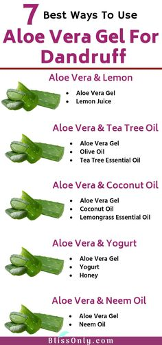 7 best ways to use aloe vera for dandruff. It helps in the cleansing scalp, reduces inflammation and soothes the dry, itchy and irritated scalp. It's nourishing properties makes the scalp healthy, moi Aloe Vera Hair Mask, Aloe Vera Skin Care, Aloe Vera For Hair, Aloe Vera Gel, Aloe Vera Shampoo, Thyme Essential Oil, Lemongrass Essential Oil, Tea Tree Essential Oil, Natural Dandruff Remedy