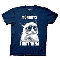 Grumpy Cat Mondays I Hate Them Black T-Shirt