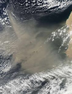 satellite image of huge dust cloud off western africa...
