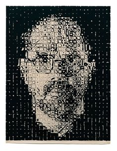 Chuck Close; self portrait; 1999. Relief etching on Japanese paper -   100x76,5  cm; 39,5x30  inches; Edition of 99 copies +5,A/P 5,P/P,5,P.  Via 5+5 Gallery