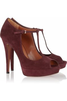 Gucci | Suede peep-toe Mary-Jane pumps $620