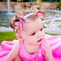 Limited Edition Pink w/White Scrolls Baby Ponytail by BellaAspire, $20.00