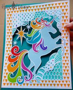 Unicorn Papercut Design Personal Use Template - DIY