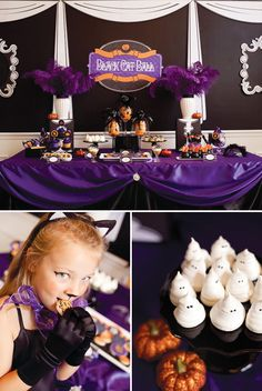 "Spooky ""Black Cat Ball""  (This could easily be a sweet sixteen dessert table with just a few changes!!!)"