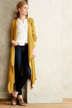 Pair this long cardigan with skinny jeans and boots.