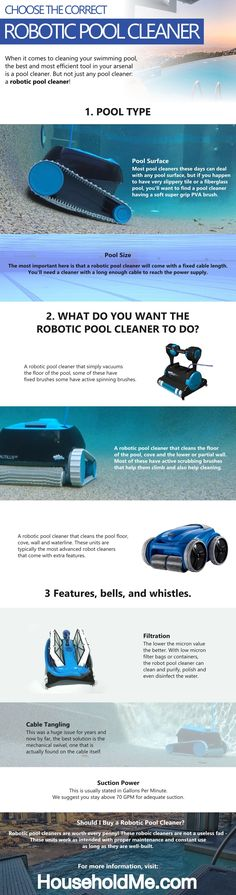 Choose a Robotic Pool Cleaner Infographic    #roboticpoolcleaner #poolcleaner #pool #robotpoolcleaner #robotpool #poolcleaning #roboticcleaner