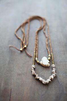 Beige - Golden - Brown Necklace /  Gemstone Necklace / Beige Brown Nekclace / Magnesite Necklace