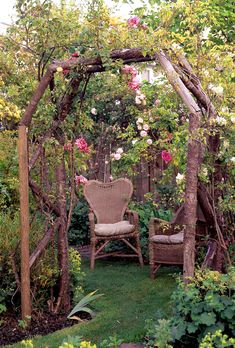 13 Rustic Arbor Ideas to Add Simple Charm to Your Garden Garden Arbor, Garden Gates, Garden Landscaping, Landscaping Ideas, Rustic Gardens, Outdoor Gardens, Rustic Arbor, Rustic Wood, The Secret Garden