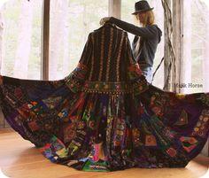 Majik Horse velvet patchwork hippie bohemian gypsy coat