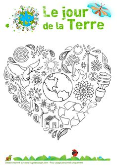 Earth Day Coloring Pages Earth Day Coloring Pages, Colouring Pages, French Lessons, Art Lessons, Earth Hour, Earth Day Crafts, Earth Day Activities, Environment Day, French Classroom