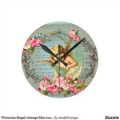 Victorian Angel vintage blue rose pink antique Round Wall Clock
