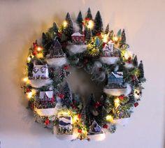 Christmas village wreath | My version of a Martha Stewart design.