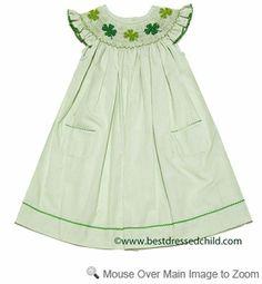 67ca80204 Silly Goose Girls Smocked St. Patricks Day Shamrocks on Green Check Dress -  Flutter Sleeves