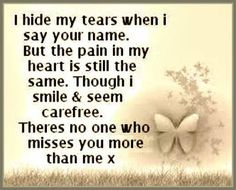 I hide my tears . . .