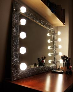 Handmade vanity mirror #handmade #vanity #mirror #with #lights #glitter