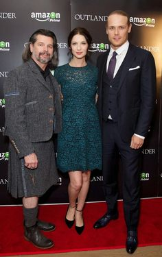 Caitroina Balfe, Sam Heughan and Ron Moore