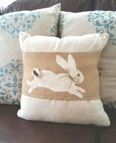 Easter Bunny Pillow Wrap by InteriorLandscapes on Etsy Burlap Pillows, Cute Pillows, Decorative Pillows, Throw Pillows, Pumpkin Pillows, Soft Pillows, Easter Pillows, Diy Pillow Covers, Cushion Covers