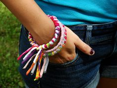 What can be done with the tee-shirt material after you make a tee-shirt quilt!      Braided Tee Shirt Bangles