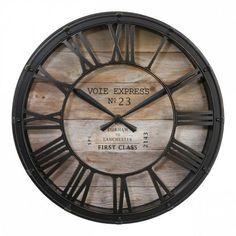 Klok Vintage Bruin - Wanddecoratie - Eminza Skeleton Wall Clock, Metal Clock, Black Wood, Wood And Metal, Animated Unicorn, Forest Crafts, Black Photo Frames, Home Clock, Hair