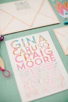 colorful wedding invitation, photo by Joielala, invites by Pitbulls & Posies