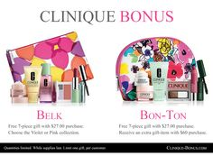 2 new Clinique gifts start today: at Belk and Bon-Ton stores. http://clinique-bonus.com/belk/ http://clinique-bonus.com/other-us-stores/#bonton Which one will you order?