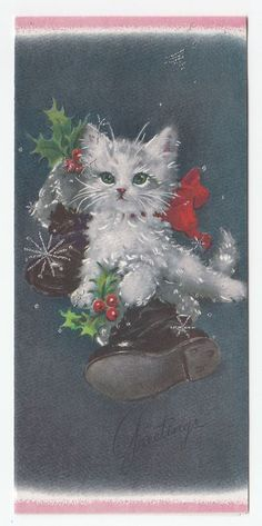 Vintage Greeting Card Christmas Kitten Cat Boots