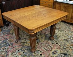 A Square Oak Dining Table With Handsome And Substantial Barley Twist Legs That End In Claw