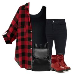 """Black and red"" by lenaick ❤ liked on Polyvore featuring City Chic and Bucco"