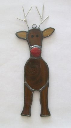 Rudolph reindeer stained glass ornament Rudolph by Faithlady
