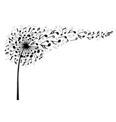 Dandelion Flower Black Vector Images (over Note Tattoo, I Tattoo, Music Tattoos, Body Art Tattoos, Tatoos, Music Drawings, Dandelion Flower, Vector Flowers, Music Wallpaper